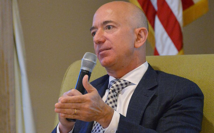 Jeff Bezos, founder of private space company Blue Origin and the Amazon.com, at Ft. MacArthur, San Pedro, Calif., Oct 25, 2017.