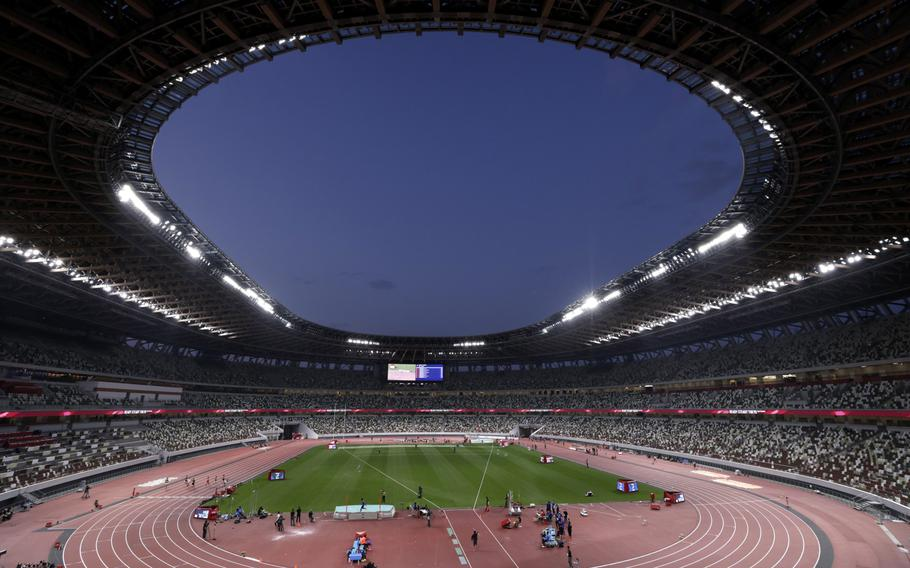 The Olympics National Stadium during a test event for Tokyo 2020 on May 9, 2021.