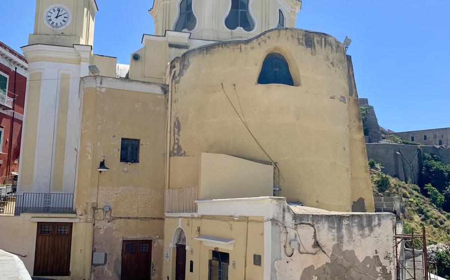 Built in 1679, the Santuario Santa Maria delle Grazie Incoronata is located near the Piazza dei Martiri in Procida, Italy.