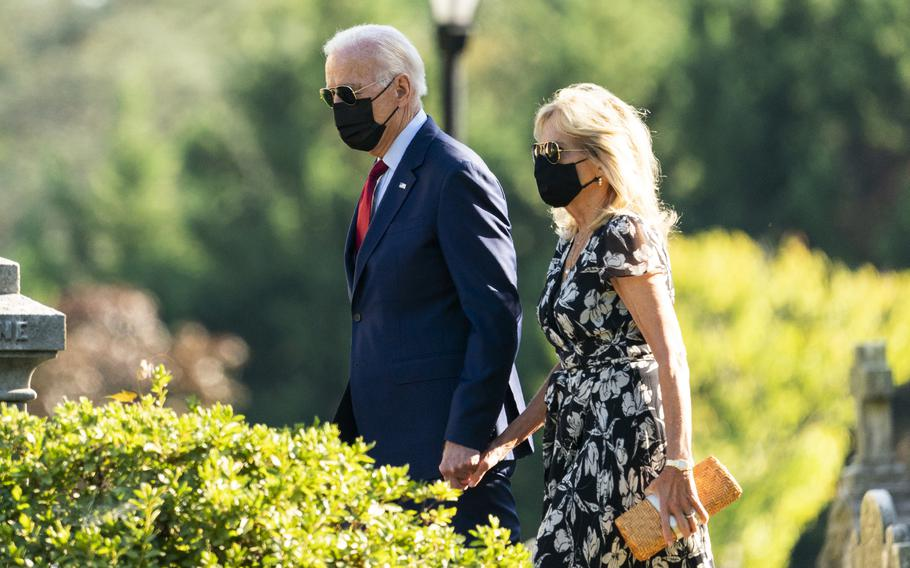 President Joe Biden and first lady Jill Biden leave St. Joseph on the Brandywine Catholic Church in Wilmington, Del., after attending a Mass, Saturday, Sept. 4, 2021.