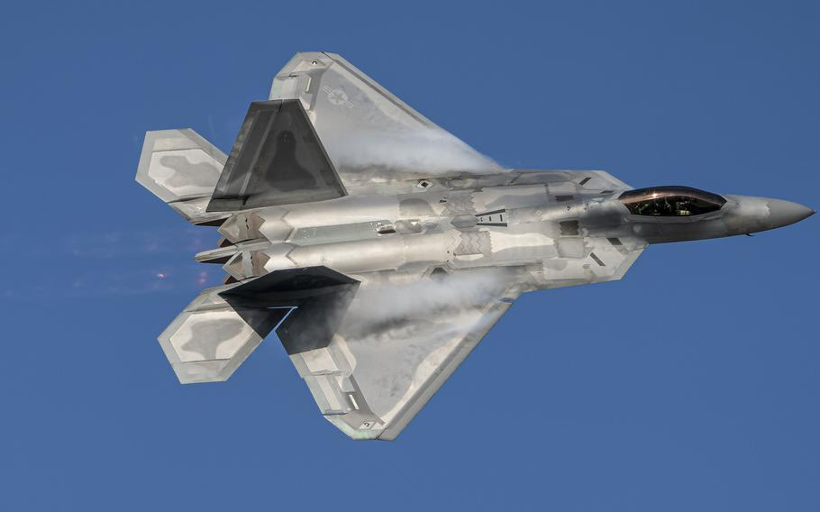 U.S. Air Force Maj. Josh Gunderson, F-22 Demo Team commander, conducts a practice show over Joint Base Langley-Eustis, Virginia, May 21, 2021.