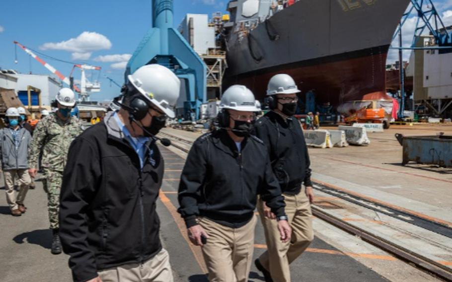 Chief of Naval Operations (CNO) Adm. Mike Gilday tours Bath Iron Works with Sen. Susan Collins and Sen. Angus King on May 10, 2021. During the visit, CNO also met with Sailors aboard USS Daniel Inouye (DDG 118).