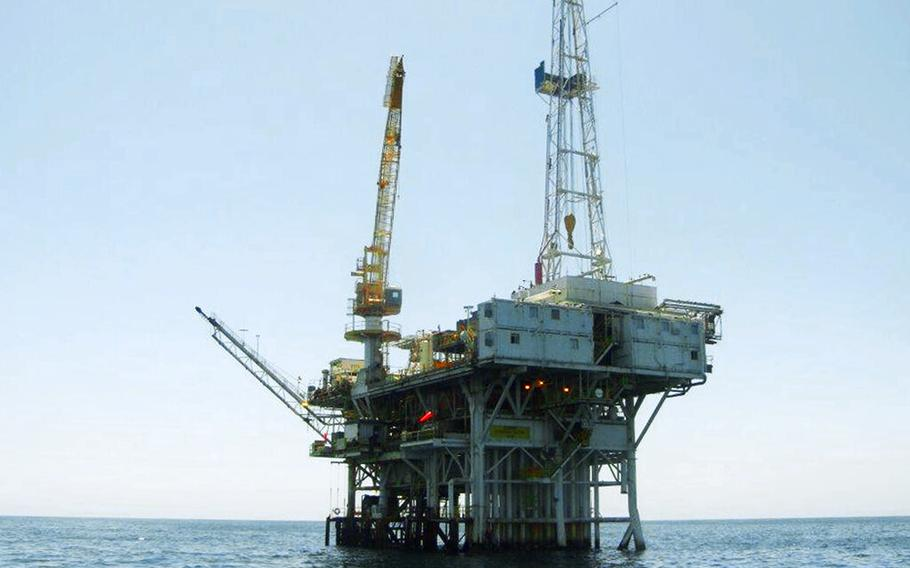 This undated file photo provided by the California State Lands Commission shows Platform Holly, an oil drilling rig in the Santa Barbara Channel offshore of the city of Goleta, Calif. The Platform Holly is one of four offshore oil platforms in California's coastal waters. The state is in the process of plugging and abandoning the platform's wells and eventually plans to decommission the platform, a process expected to cost taxpayers tens of millions of dollars.