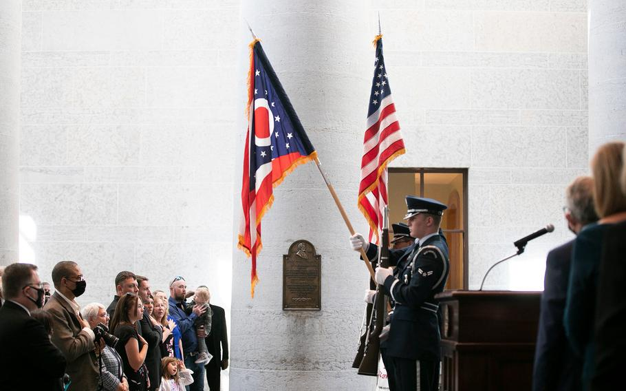 The Ohio Air National Guard, presents the colors at the induction ceremony for the Ohio Military Hall of Fame for Valor class of 2021, Friday, September 24, 2021.