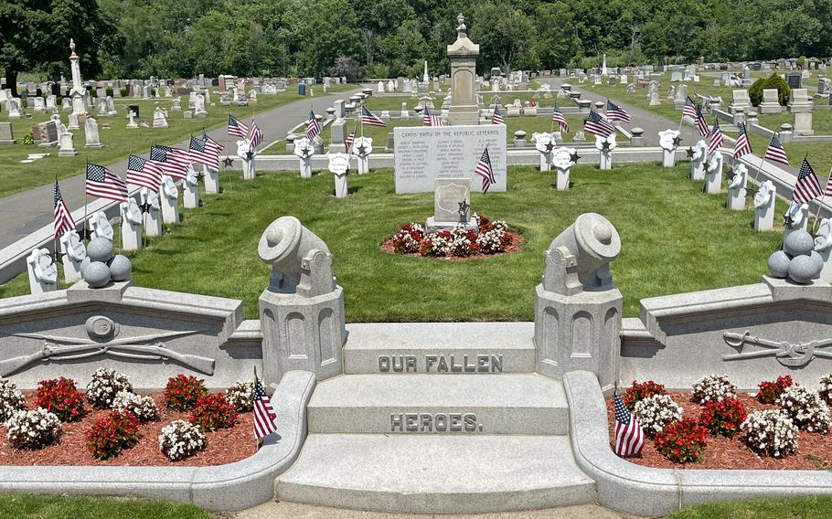 The Civil War Memorial at Riverside Cemetery in Saugus, Mass., on July 7, 2021.