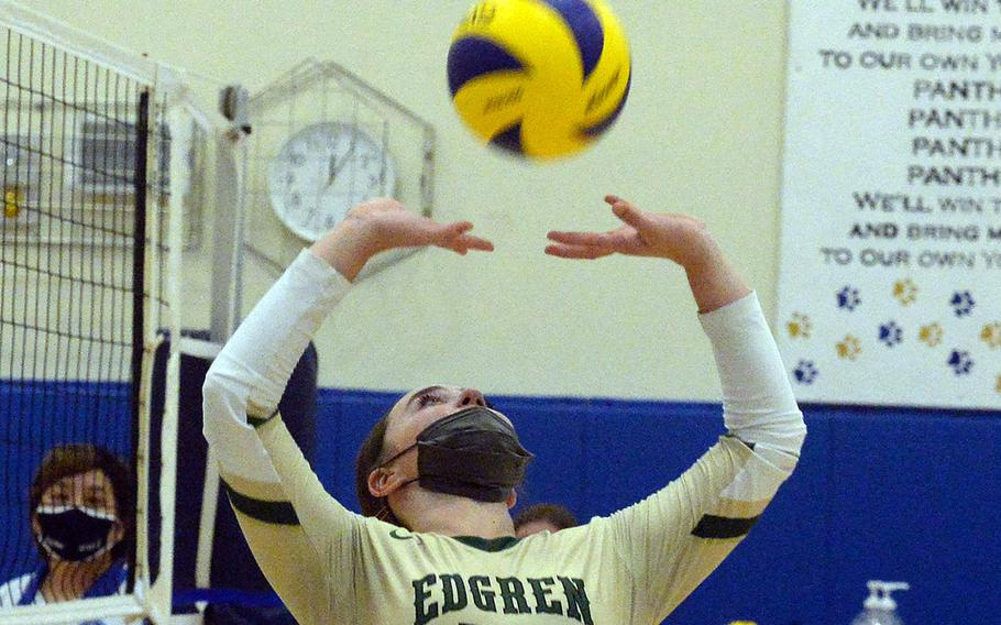 Robert D. Edgren's Alanna Sanchez sets against Nile C. Kinnick during Saturday's Japan girls volleyball match. The Eagles won in straight sets, improving to 10-0 on the season without dropping a set.