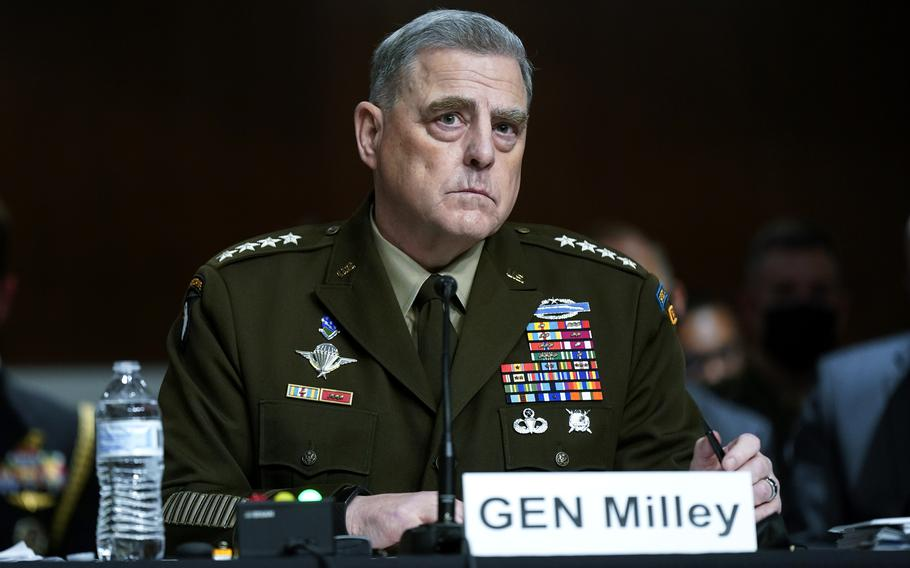 Chairman of the Joint Chiefs of Staff Gen. Mark Milley listens to a Senator's question during a Senate Armed Services Committee hearing on the conclusion of military operations in Afghanistan and plans for future counterterrorism operations, Tuesday, Sept. 28, 2021, on Capitol Hill in Washington.