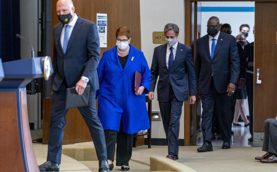 From left, Australian Minister of Defense Peter Dutton, Australian Foreign Minister Marise Payne, Secretary of State Antony Blinken, and Defense Secretary Lloyd Austin arrive for a news conference at the State Department in Washington, on Thursday, Sept. 16, 2021.