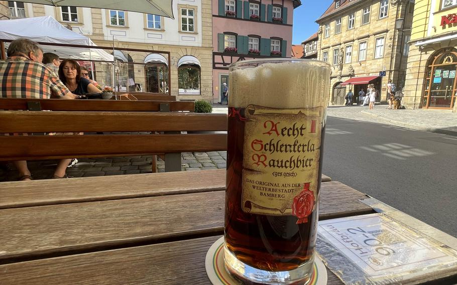 The Aecht Schlenkerla rauchbier at Hofbrau on June 21, 2021 in Bamberg, Germany. The city is renowned for its rauchbier, or smoked beer.