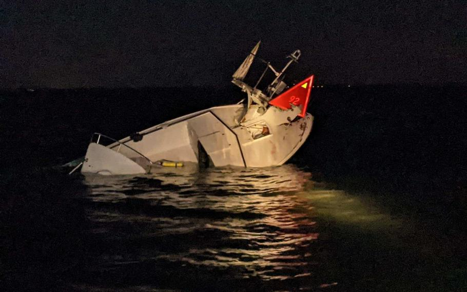 The Coast Guard and the Beach Haven Volunteer Fire Department rescued six boaters after their 30-foot white pleasure craft struck a fixed aid to navigation in the vicinity of Ham Island, on Sunday, Sept. 19, 2021.