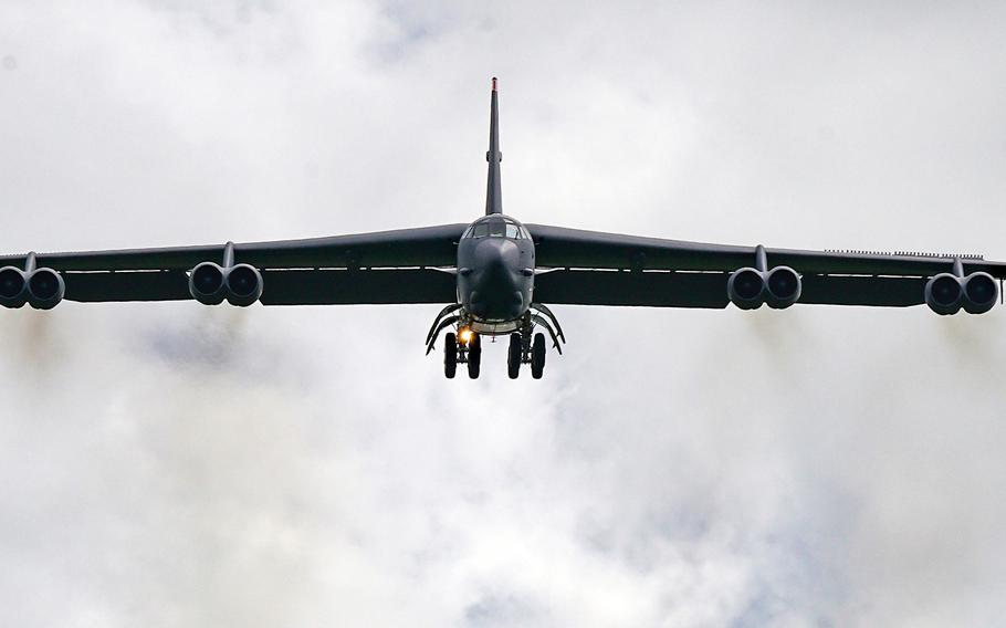 An Air Force B-52H Stratofortress from Minot Air Force Base, N.D., arrives at Andersen Air Force Base, Guam, Thursday, July 15, 2021.