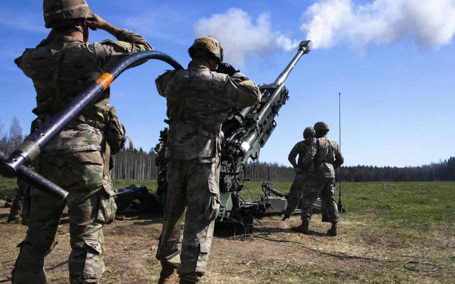 U.S. soldiers from the 82nd Airborne Division fire an M777 howitzer during an exercise at Tapa Central Training Area, Estonia, in May 2021. A virtual meeting of foreign and defense ministers from NATOs 30 members discussed stances on Russia, Afghanistan and other issues on June 1, 2021, ahead of a heads of states and governments summit scheduled for June 14.