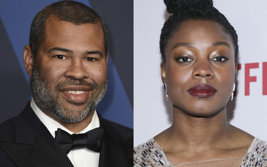 """Jordan Peele appears at the Governors Awards in Los Angeles on Oct. 27, 2019, left, and Nia DaCosta appears at the 11th Annual AAFCA Awards in Los Angeles on  Jan. 22, 2020. Peele, co-wrote the script """"Candyman"""" with DaCosta, who also directs."""