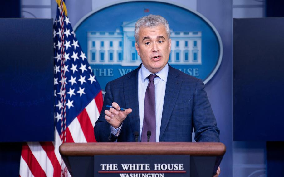Jeff Zients, the White House's COVID-19 response czar, speaks during a press briefing at the White House on April 13, 2021, in Washington, D.C.