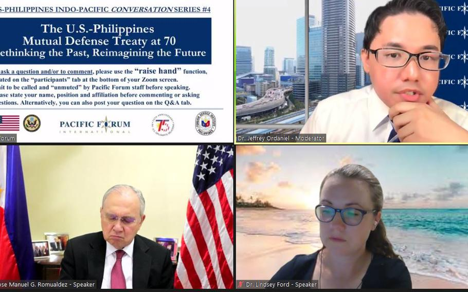 Philippine Ambassador to the United States Jose Manuel Romualdez and Lindsey Ford, the U.S. deputy assistant secretary of defense for South and Southeast Asia, discuss the allies' 70-year-old Mutual Defense Treaty with the Pacific Forum's Jeffrey Ordaniel, Thursday, Sept. 23, 2021.