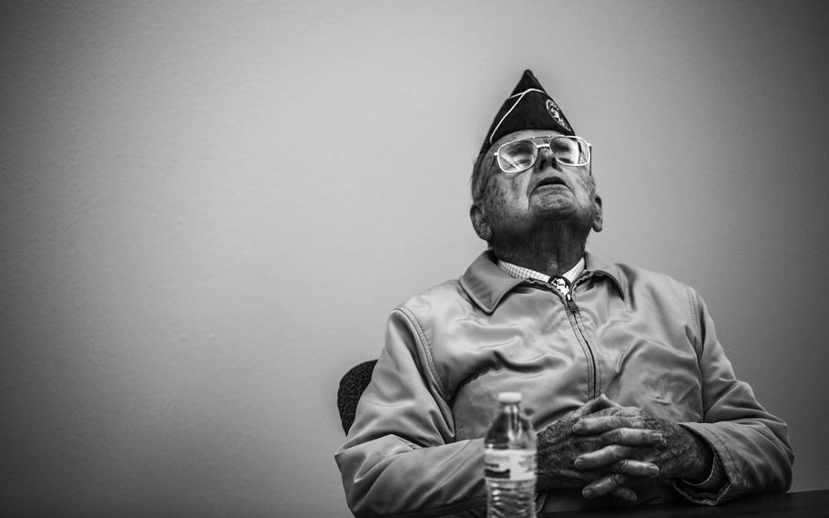 World War II veteran Bill Overmier, a Bataan Death March survivor, attends an event at the White Sands Missile Range in New Mexico on March, 2019, 2016, as he recalled how he joined the New Mexico National Guard to earn extra money for a degree at the University of New Mexico. According to reports on Aug. 17, 2021, Overmier died at his home in Albuquerque on Aug. 2. He was 101.