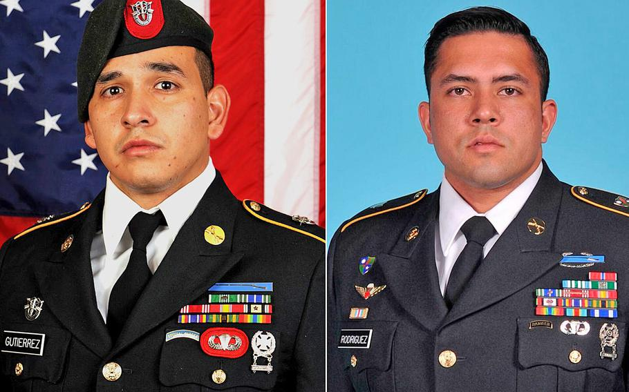 Sgt. 1st Class Javier J. Gutierrez, left, and Sgt. 1st Class Antonio R. Rodriguez, both 28, were killed in an apparent insider attack in eastern Nangarhar province on Feb. 8, 2020.   U.S. Army