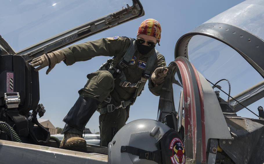 Capt. Natalie Rambish, 47th Operations Support Squadron aircrew and flight equipment commander and instructor pilot, climbs into a seat in a T-38C Talon as she prepares to fly with a student pilot on Aug. 11, 2020, at Laughlin Air Force Base, Texas.