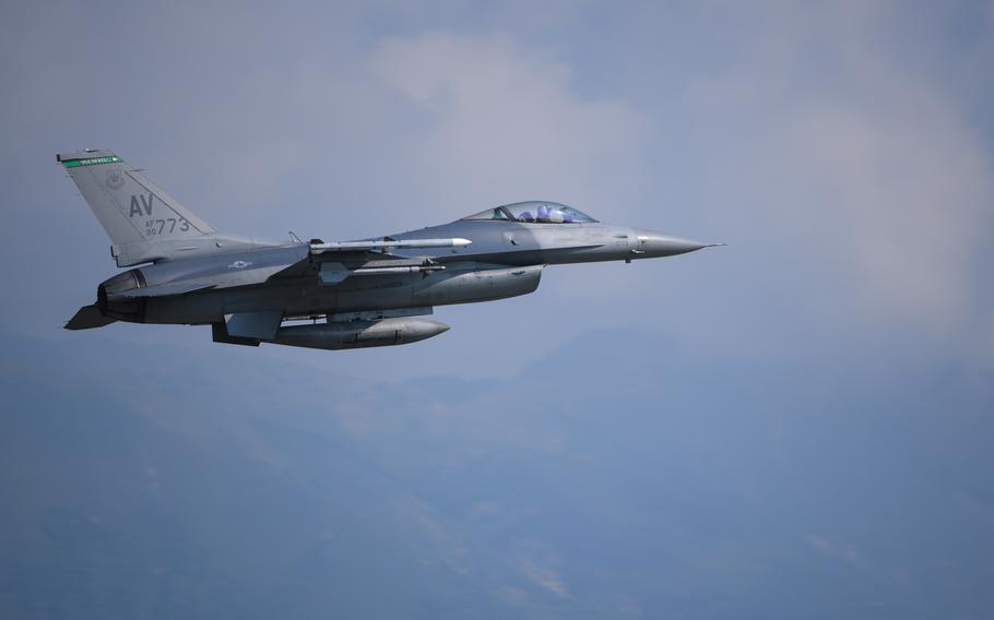 A U.S. Air Force F-16 Fighting Falcon assigned to the 555th Fighter Squadron takes off during exercise Falcon Strike at Aviano Air Base, Italy, June 4, 2021. Falcon Strike 21 is a multi-lateral military training exercise, designed to enhance fourth and fifth generation fighter integration, combat readiness and fighting capability.