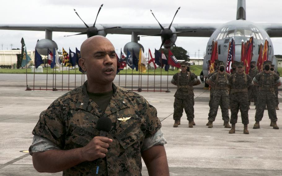 Brig. Gen. Brian Cavanaugh speaks after taking command of the 1st Marine Aircraft Wing at Marine Corps Air Station Futenma, Okinawa, Friday, June 11, 2021.