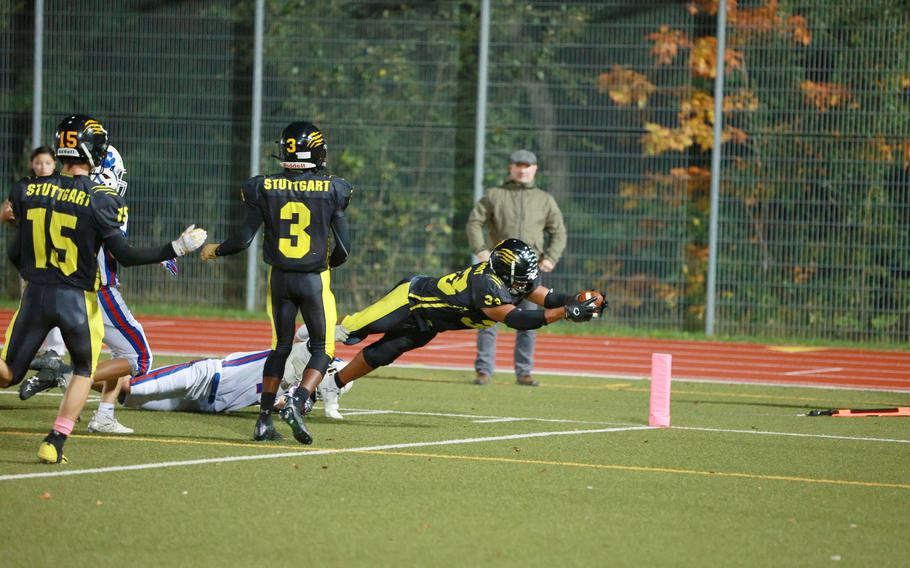 Trent Jackson caught four passes from Caiden Ray on Friday night and three of them resulted in touchdowns as the Stuttgart Panthers thumped the Ramstein Royals 68-0.