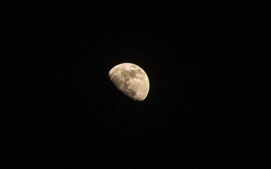 The moon seen from aboard the Wasp-class amphibious assault ship USS Iwo Jima Feb. 4, 2020.