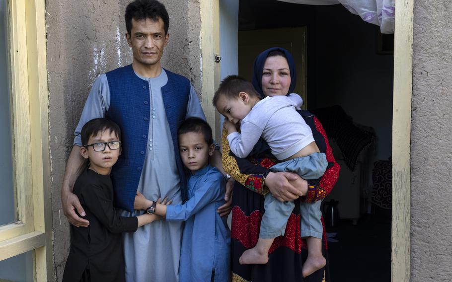 Abdul Rashid Shirzad with his family in Kabul, Afghanistan, on July 1, 2021.