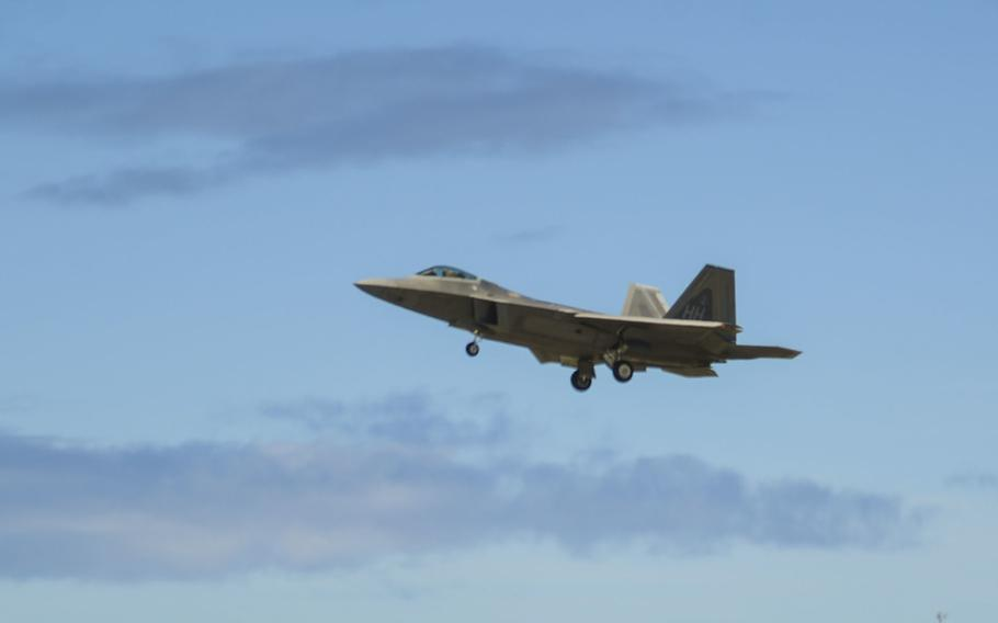 An F-22 Raptor, assigned to the 199th Fighter Squadron, lands on Joint Base Pearl Harbor-Hickam, Hawaii, June 13, 2017. The F-22 Raptor is the Air Force's fifth generation fighter aircraft. Its combination of stealth, supercruise, maneuverability and integrated avionics, coupled with improved supportability, represents an exponential leap in warfighting capabilities.