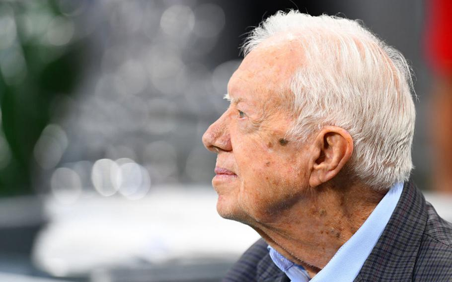 Former president Jimmy Carter prior to the game between the Atlanta Falcons and the Cincinnati Bengals at Mercedes-Benz Stadium in Atlanta on Sept. 30, 2018. Carter turns 97 on Friday, Oct. 1, 2021.