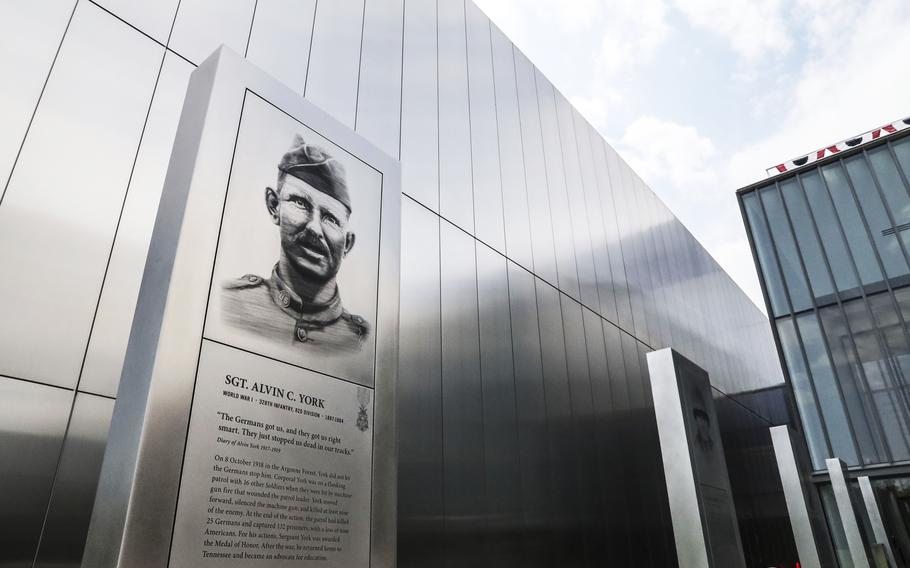 A plaque honors World War I hero Sgt. Alvin York at the entrance of the National Museum of the United States Army on its reopening day, June 14, 2021.