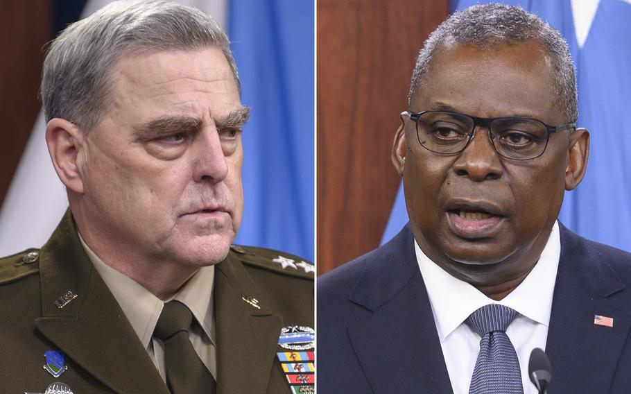 Chairman of the Joint Chiefs of Staff Army Gen. Mark Milley, left, and Secretary of Defense Lloyd Austin attend a briefing held at the Pentagon in Washington, D.C., Sept. 1, 2021.