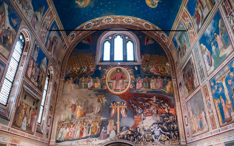 The Scrovegni Chapel in Padua, Italy, contains 38 frescoes by artist Giotto di Bondone from the life of Mary and Jesus.