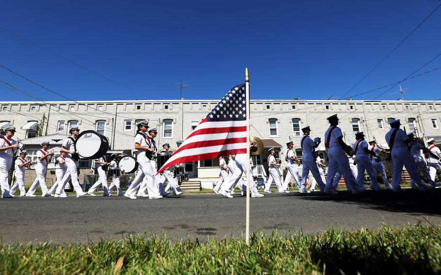 U.S. Navy members marching in The John Basilone Parade, in Raritan, N.J., Sunday, Sept. 19, 2021.
