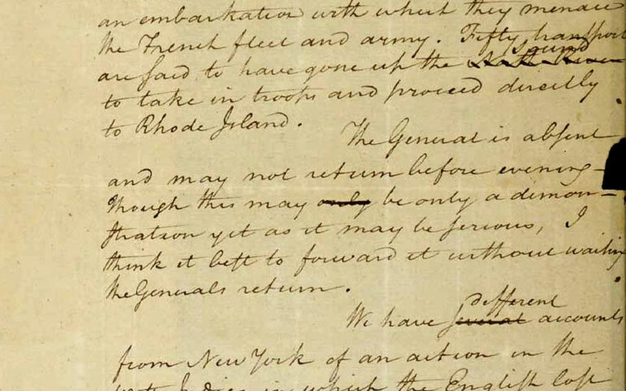 This image filed May 15, 2019, in federal court as part of a forfeiture complaint by the U.S. attorney's office in Boston shows a 1780 letter from Alexander Hamilton to the Marquis de Lafayette, that was stolen from the Massachusetts Archives decades ago.  The letter written by  Hamilton during the Revolutionary War and believed stolen decades ago from the Massachusetts state archives was returned Tuesday, Oct. 12, 2021, following a federal appeals court decision.