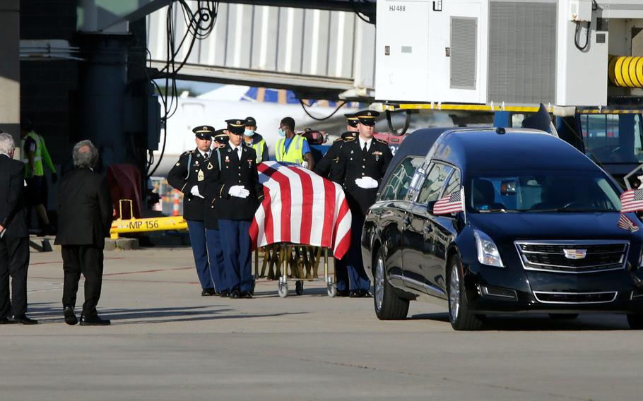 The remains of Army 1st Lt. Anthony Mazzulla, who was killed during the Korean War, are returned to Rhode Island on Tuesday, October 12, 2021.
