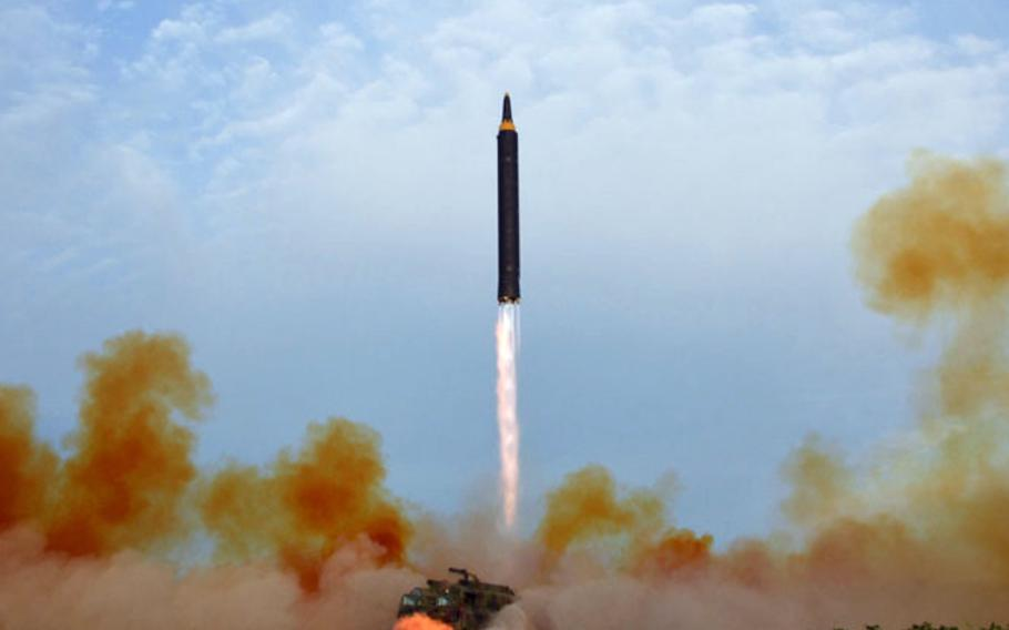 This image released by the Korean Central News Agency shows a North Korean missile launch on Sept. 15, 2017.