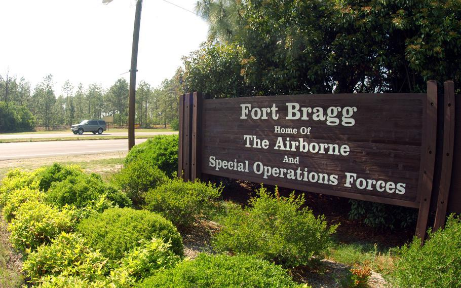 The entrance to Fort Bragg is shown in this undated file photo.