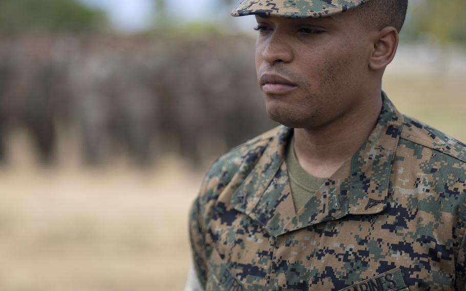 Lance Cpl. Tercell Byrd, a Marine Corps rifleman, is awarded the Navy and Marine Corps Medal at Marine Corps Base Hawaii, Wednesday, June 30, 2021.