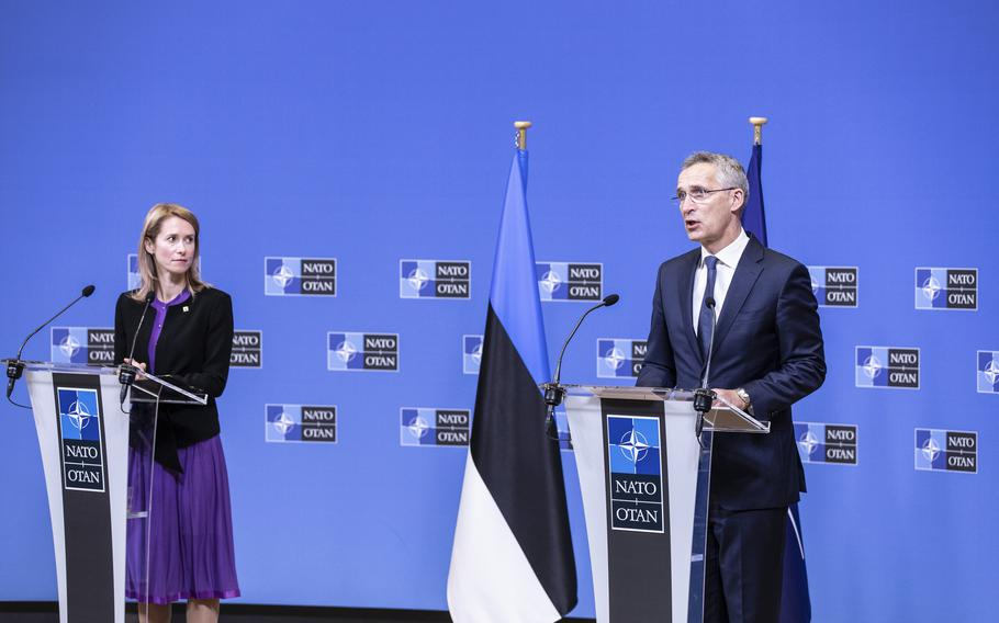 NATO Secretary-General Jens Stoltenberg and Estonian Prime Minister Kaja Kallas talk to reporters after a meeting in Brussels, May 25, 2021. Stoltenberg said Russia is continuing with a ''pattern of aggressive behavior'' toward Ukraine.