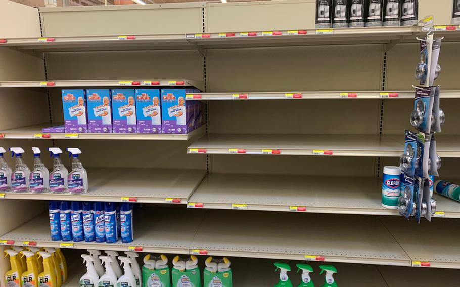Shipping delays caused in part by Typhoon Chanthu resulted in empty shelves at U.S. military commissaries in South Korea, including at Camp Humphreys, shown here Sept. 20, 2021.