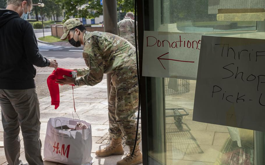 Donations are collected for Afghan refugees at Ramstein Air Base on Thursday, Aug. 26, 2021.