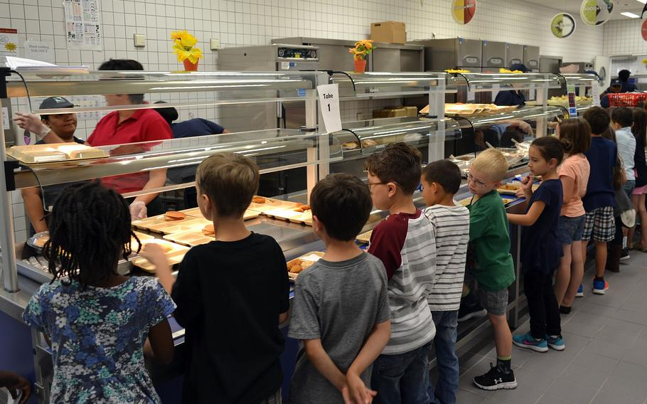 Students at overseas Department of Defense Education Activity schools, like these in Netzaberg, Germany, in 2016, will be eligible for free lunches through June 2022, the Army and Air Force Exchange Service announced.