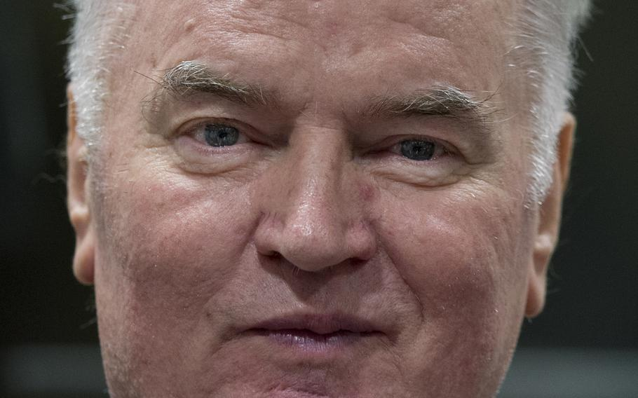 Bosnian Serb military chief Ratko Mladic enters the Yugoslav War Crimes Tribunal in The Hague, Netherlands, to hear the verdict in his genocide trial on Nov. 22, 2017.