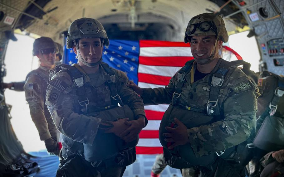 Sgt. Maj. Jason Towns, left, and his son, Sgt. Jaden Towns, participated in a paratrooper jump together at Fort Bragg shortly before Father's Day.