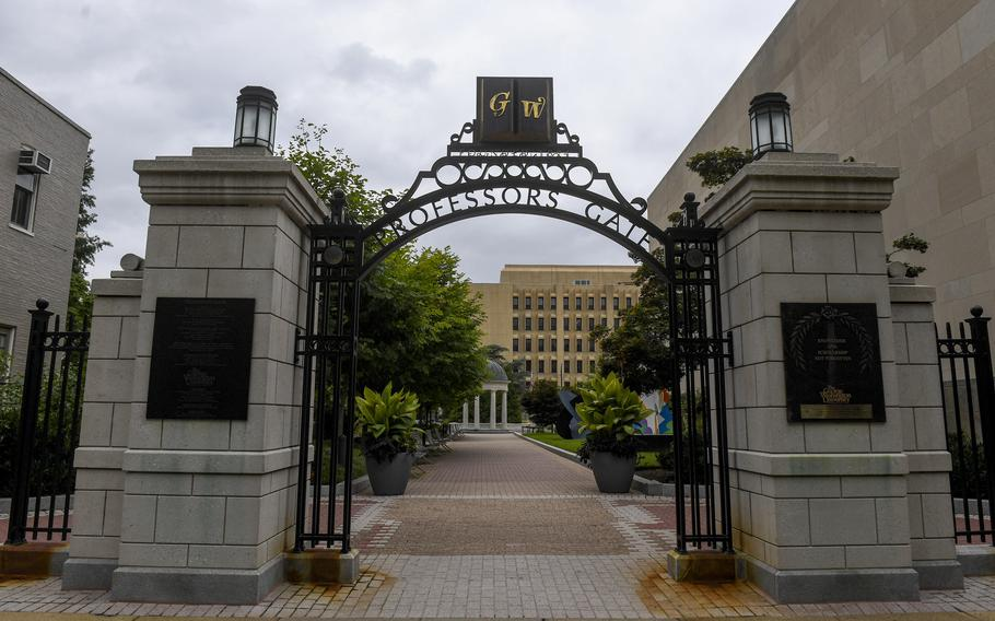 As college campuses reopen, many faculty members worry about COVID. Shown here is the professors gate at George Washington University in Washington, D.C.