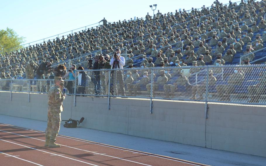 Lt. Gen. Pat White, commander of III Corps and Fort Hood, Texas, spoke Tuesday to about 2,000 soldiers on the findings of a civilian-led investigation that led to disciplinary action against 14 leaders at the base. ROSE L. THAYER/STARS AND STRIPES