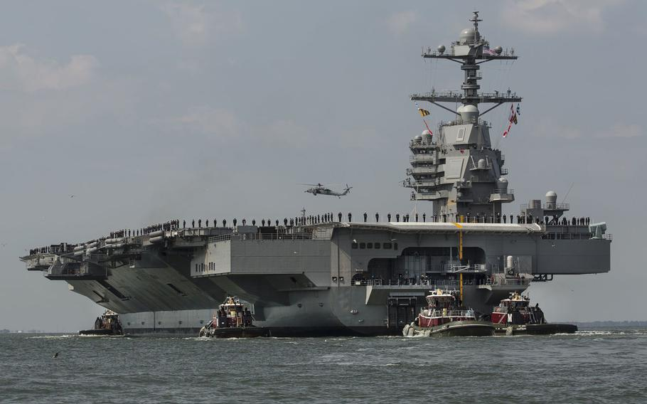 The aircraft carrier Gerald R. Ford returns to Norfolk on Friday, April 14, 2017, after a week of builder's trials during which the ship's systems were tested.