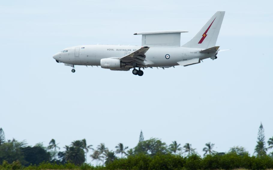 A Royal Australian Air Force E-7A Wedgetail, based at RAAF Base Williamtown, Australia, approaches for a landing April 20, 2021, at Honolulu International Airport, Hawaii.