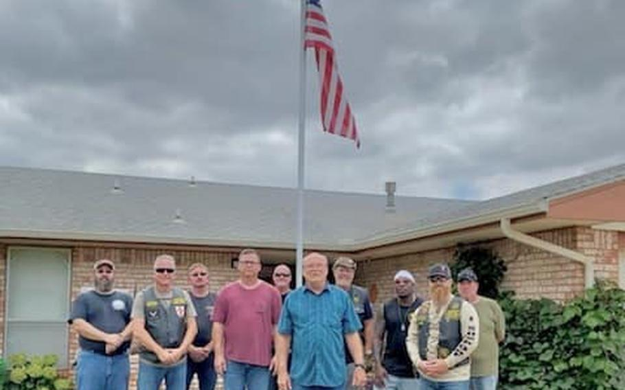 Three veterans received a flagpole installation at their homes from the local chapter of the Oklahoma nonprofit Flagpoles Honoring Our Veterans on Saturday, Aug. 21, 2021.