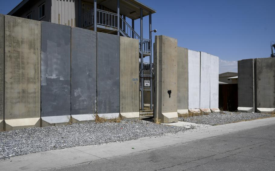 Murals on blast walls at Bagram Airfield, Afghanistan, were blank July 7, 2021, after being painted over prior to U.S. troops transferring the base to Afghan security forces.